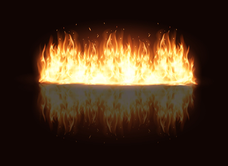illustration of burning fire flame on black background Stock Vector - 94018021