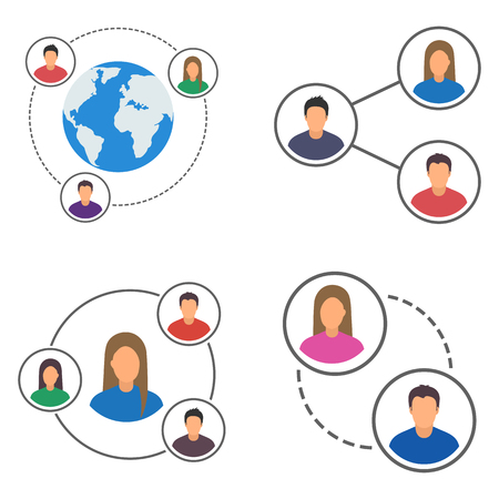 People network icons set, people connection set