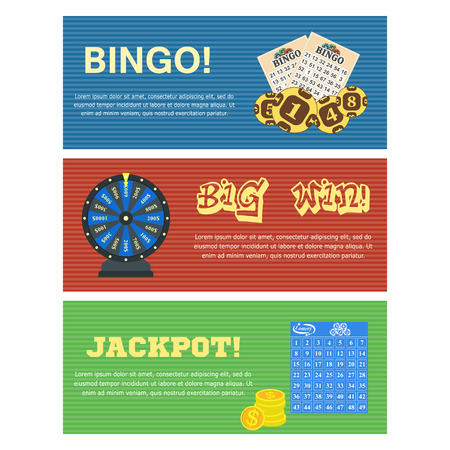 Set of three lottery horizontal banners with bulletin tickets bingo balls drawing machine and editable text