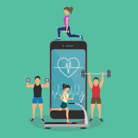 Young men and women are standing near big smartphone with app for sport and fitness tracking heart beating data and getting information of pulse rate