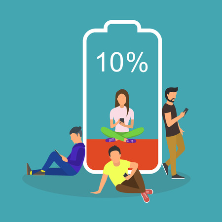 Battery low concept vector illustration of young people using smartphones and tablets with poor battery level.
