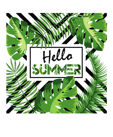 Hello Summer vector illustration, background. Fun quote hipster design logo or label. Hand lettering inspirational typography poster, banner. Stock Illustratie