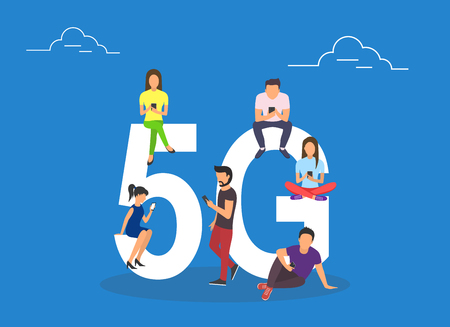 Flat people with gadgets sitting on the big 5G symbol