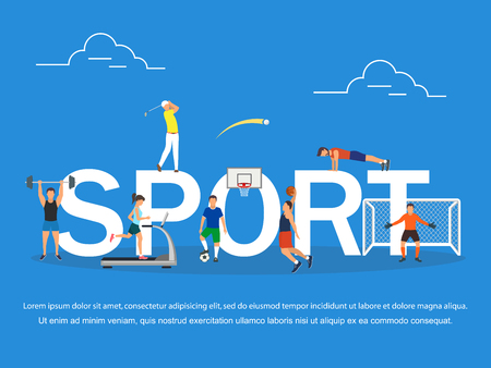 Sport concept illustration of young people playing basketball, golf and football. Flat design of guys and women participating in competition near big letters