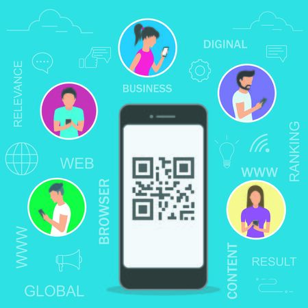 Vector illustration of people using mobile smartphones for online ordering and purchasing goods scanning qr-code on promo banners.