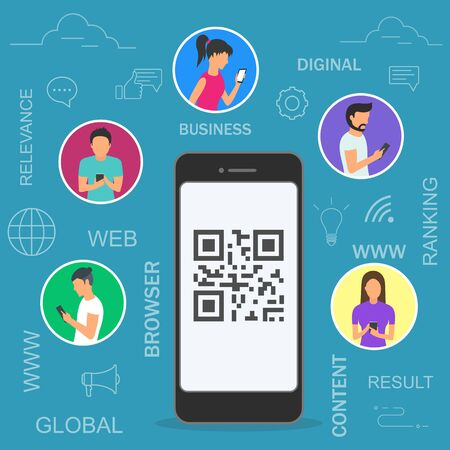 Vector illustration of people using mobile smartphones for online ordering