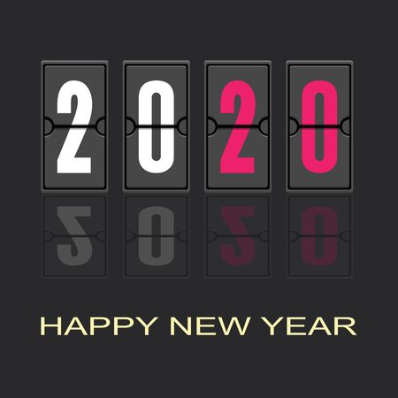 Happy New Year 2020 Text Design,Vector illustration. Ilustração