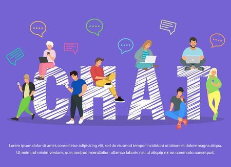 Chat illustration of young people using mobile gadgets .Flat big letters chat and guys Ilustração