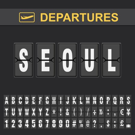 Flight info of destination South Korea flip alphabet airport departures, Seoul Ilustração