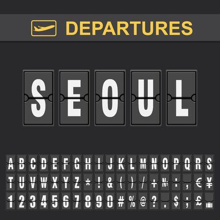 Informations de vol de destination Corée du Sud départs de l'aéroport de l'alphabet flip, Séoul