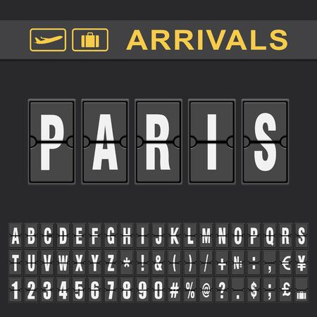 Analog airport flip board displays flight info of arrivals destination in Paris