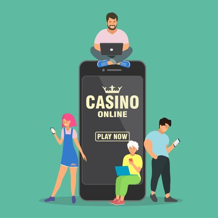 Online casino concept. People are near a large smartphone and play online casino.