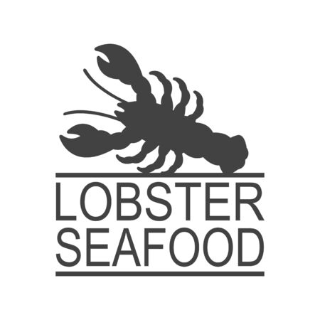 Lobster seafood. Vintage icon Lobster label, print sticker for Meat Restaurant. Lobster silhouette.