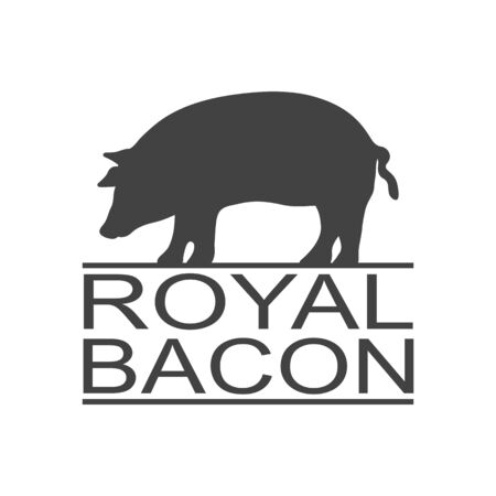 Royal bacon. Vintage icon pork label, print sticker for Meat Restaurant. Pork silhouette.
