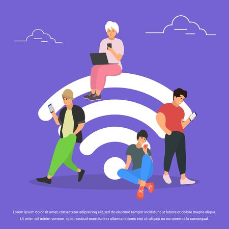 People in wi-fi zone. Flat stile.Vector Illustration