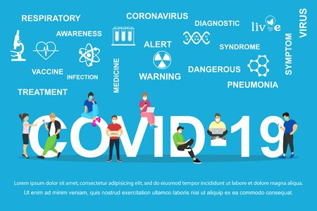 Dangerous chinese nCoV coronavirus, SARS pandemic risk alert Symptoms. Chinese virus. Ilustração