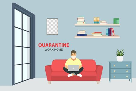 A young businessman works with a laptop on the couch during quarantine.Vector illustration.