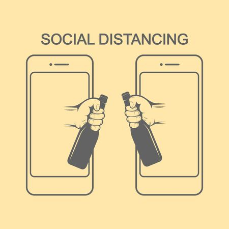 Social Distancing. There are two hands from mobiles hold bottle of beer for celebrate together. Ilustração