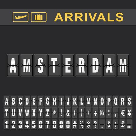 Departure and Arrival sign at Amsterdam Airport Stock Vector Illustration