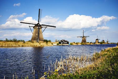 Windmill complex Kinderdijk Stock Photo