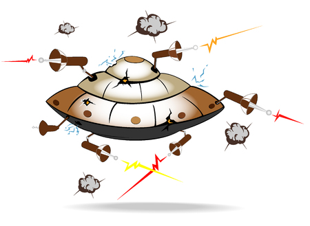 alien spaceship under attack Vector