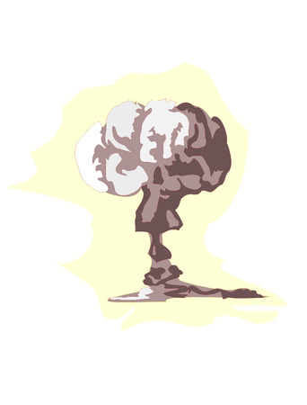 mushroom cloud:  illustration of atomic explosion Illustration