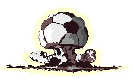 destructive: atomic mushroom in form of soccer ball