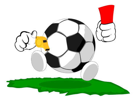 football judge: cartoon soccer ball the judge shows the red card
