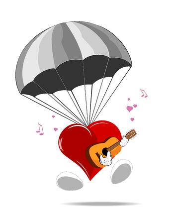 cartoon heart with parachute  Stock Vector - 8350805