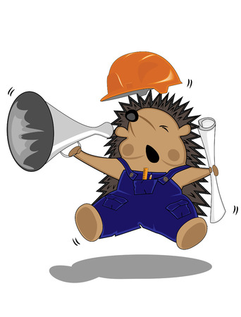 working animal: chief hedgehog builder in hardhat and with drafts  Illustration