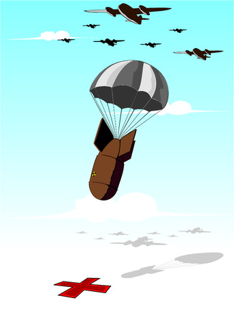 nuclear weapons: falling bomb illustration