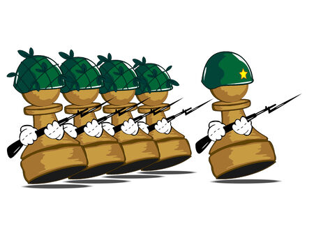 army helmet:  illustration of the walking army of pawns
