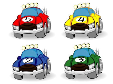 set of color racing cars Illustration