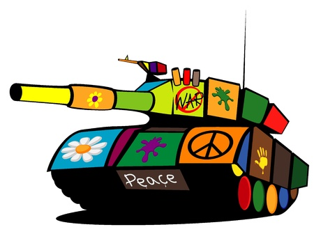 world peace: colored military tank