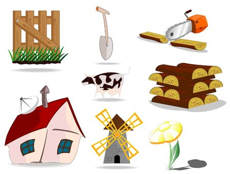 set of village icons Stock Vector - 9535223