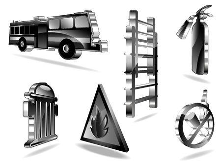 borne fontaine: ensemble d'ic�nes d'incendie
