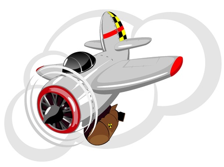 atom bomb: illustration of cartoon military aircraft with bomb Illustration