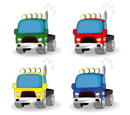 set of cartoon racing trucks Stock Vector - 10070154
