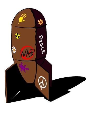 bomba atomica: bomba at�mica color  Vectores