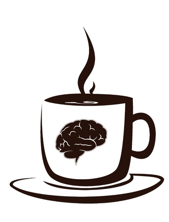 hot chocolate drink: cup of hot cofee with image of brain