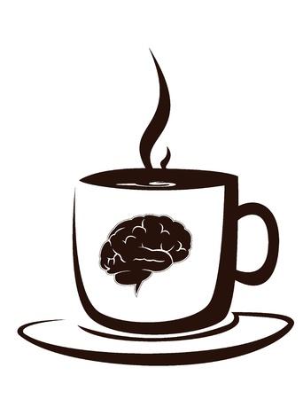 cerebro blanco y negro: taza de caf� caliente con la imagen del cerebro