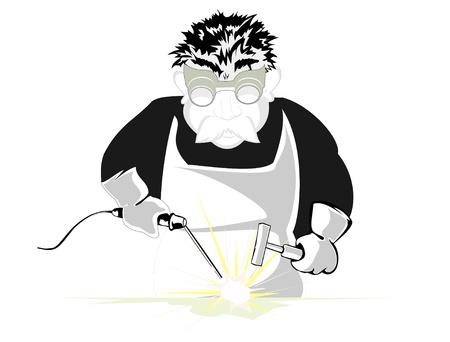 welder: welder in glasses at work