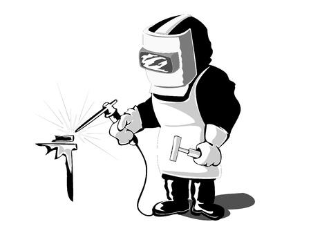 Vector illustration of welder at work