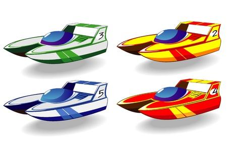speed boat: conjunto de barcos de regatas de dibujos animados Vectores