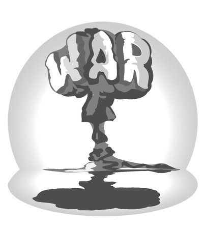 atomic: cloud of atomic explosion in form word war