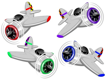 set of color cartoon aircrafts Illustration