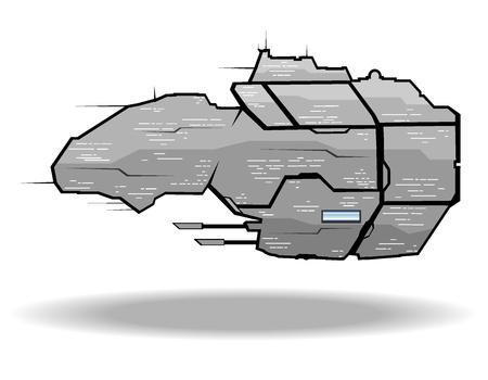 vector illustration of futuristic spaceship.vector 4