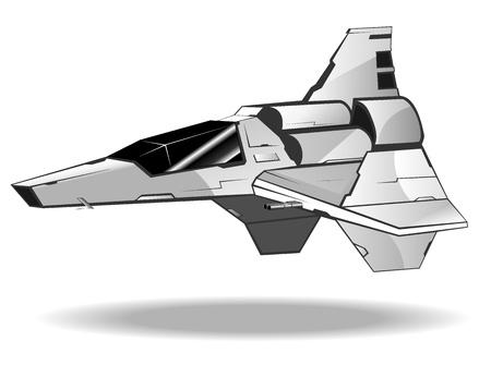 vector illustration of futuristic spaceship Ilustração