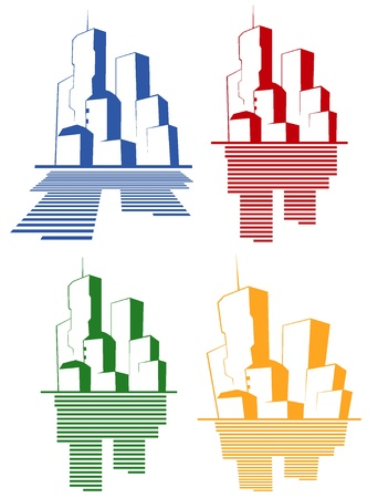 set of color icons of the city Stock Vector - 10804691
