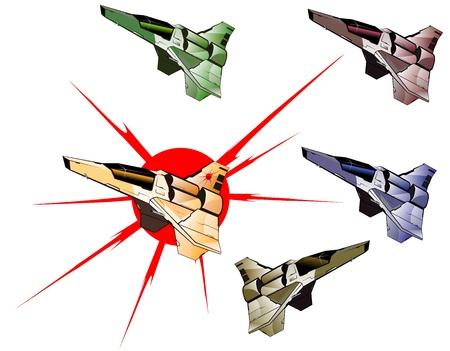 set of futuristic spaceships Vector